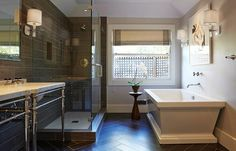 A beautiful residential #bathroom #renovation with Crossville #porcelain #tile. by crossvilleinc