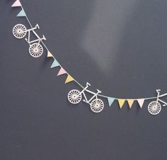 bicycle + bunting - How great would that be for a missionary farewell. Bicycle Themed Wedding, Bicycle Party, Bicycle Birthday Parties, Bicycle Decor, Bicycle Design, Missionary Farewell, Bunting Garland, Paper Bunting, Party Garland