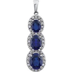 14K White Gold Created Blue Sapphire (also available with amethysts) & .04 CTW Diamond 3-Stone Pendant #amethystpendant #amethystdiamondpendant #mystullerstyle page 130 st651372