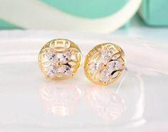 Earrings - Rose Gold or White Gold Filled Hollow Hemisphere CZ Diamond Stud Earrings