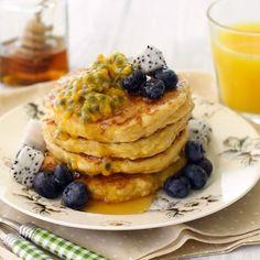 Pancakes au mascarpone et fruits de la passion
