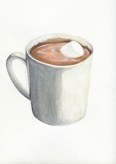 Hot Chocolate with Marshmallow // Food Illustration // Archival Art Print…