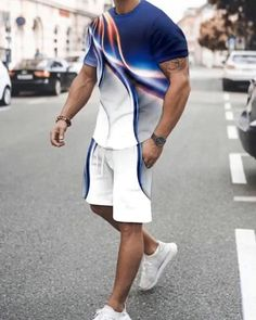 Mens Casual Suits, Casual T Shirts, Suit Fashion, Mens Fashion, Buy Suits, Short Suit, Type Of Pants, Patterned Shorts, Printed Shorts