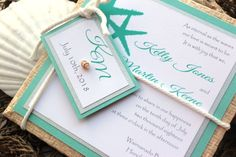 Wedding Invitations Beach Destination Tiffany Blue-White-Silver. $7.00, via Etsy.