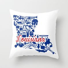 LA Tech Louisiana Landmark State - Red and Blue LA Tech Theme Throw Pillow by Painted Post - Home Decor, College Dorm Decor, University Graduate Gift Ideas