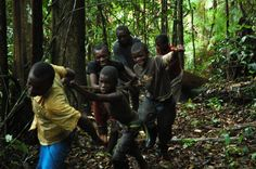 Saramaccan boys pulling a log from the forest to make canoe,Suriname.