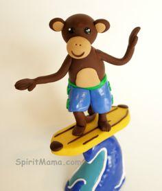 Surfing Boy Monkey Birthday Cake Topper on Banana by SpiritMama, $85.00