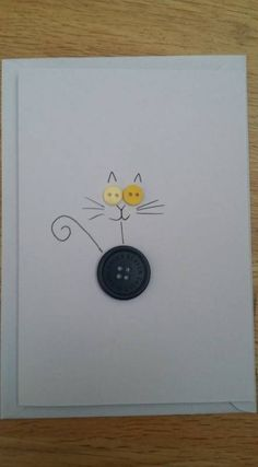 24 Ideas birthday card handmade cat for 2019 Cat Cards, Kids Cards, Greeting Cards, Button Cards, Handmade Birthday Cards, Cat Birthday Cards, Birthday Gifts, Birthday Bunting, Paper Cards