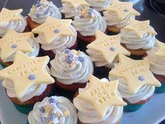 Cupcakes til dåbskage