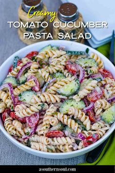 Fresh tomatoes, cucumbers, onion, and herbs tossed in a light creamy dressing with pasta make a salad that's absolutely irresistible! Creamy Tomato Cucumber Pasta Salad is not only easy to make but it's colorful, cool, and does double duty as a side dish or salad. Cucumber Pasta Salad, Vegetarian Pasta Salad, Pasta Salad Recipes, Italian Pasta Recipes, Bacon Ranch Pasta Salad, Tasty Vegetarian Recipes, Macaroni Salad, Healthy Eating Recipes, Healthy Salads