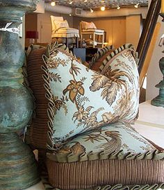Quatrine Custom pillows with knife pleated welt and contrasting boxing