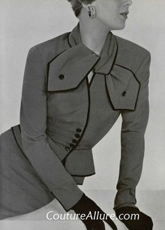 1950s vintage designer jacquesfath jacket suit, newlook style, piping details, embellishments.