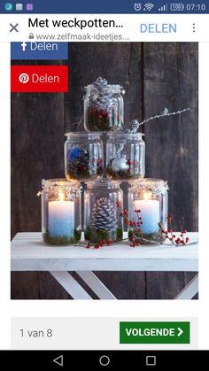 DIY Mason Jar Pyramid – Quick Deco Ideas for Christmas, e. with these Mason Jars! Christmas Mason Jars, Noel Christmas, Mason Jar Diy, Christmas Is Coming, Winter Christmas, Diy And Crafts, Christmas Crafts, Christmas Ideas, Merry Xmas