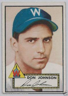 Don Johnson Washington Senators1952 Topps Baseball Card # 190 EX-MT