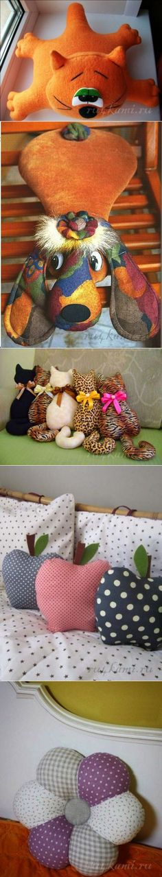 ru4kami.ru Cat Crafts, Animal Crafts, Diy And Crafts, Arts And Crafts, E Craft, Craft Gifts, Handmade Pillows, Handmade Toys, Sewing Projects