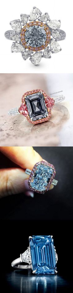 Fine Rings Blue Diamond Bridal Set 3.34 Ct Round Diamond Sterling Silver Ring New Handmade Vivid And Great In Style Diamond