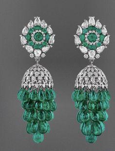 Jhumki Earrings, Emerald Earrings, Emerald Jewelry, Gems Jewelry, Fine Jewelry, Diamond Brooch, Art Deco Diamond, Bridal Necklace, Designer Earrings