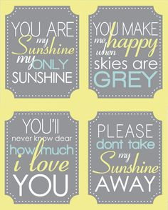 You are my Sunshine - Quote Set- (4)  8x10 Nursery Prints - yellow grey mint
