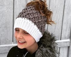 Crochet Pattern for Mini Harlequin Slouch, Ponytail, or Messy Bun Hat - 8 sizes, newborn to large adult - Welcome to sell finished items