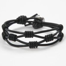 12981 A Bracelet made from Leather Cords with Silicone Stop Rings - cchobby.com