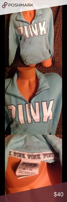 Victoria Secret Half Zip Sweatshirt XS! Victoria Secret half zip sweatshirt size xsmall it's oversized so could fit small medium also pulling from the wash used condition!! PINK Victoria's Secret Tops Sweatshirts & Hoodies