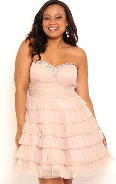 Deb Shops Plus Size Strapless Short Homecoming Dress with Cupcake Skirt $95.00