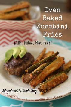 These Oven Baked Zucchini Fries are aip/ apelo/ gluten free and the perfect addition to any cookout or bbq! - Adventures In Partaking Bake Zucchini, Zucchini Fries, Paleo Side Dishes, Side Dish Recipes, Veggie Dishes, Whole Food Recipes, Diet Recipes, Healthy Recipes, Paleo Meals