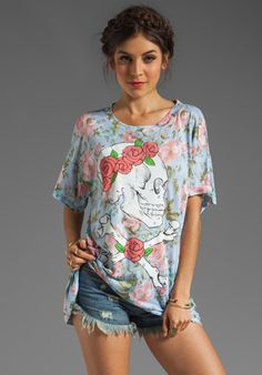 Wildfox Couture Donovan Floral Graphic Tee in Waterfalls