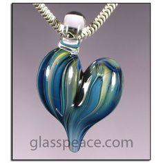 Blue Glass Heart Bead - Boro Lampwork Glass Pendant by Glass Peace  $10.95