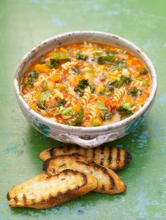 Minestrone soup: Serves 8 which leads to a recipe from Jamie Oliver. My approach to it would be a little different but I would not struggle to eat that one as my dinner