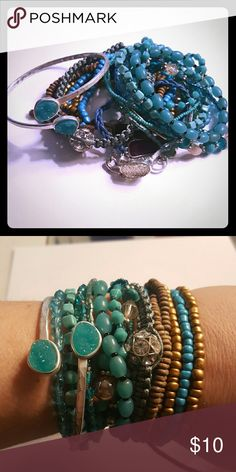 Charming charlie teal bracelet lot Charming charlie multiple bracelets  Teal colors  17 all together Charming charlie  Jewelry Bracelets