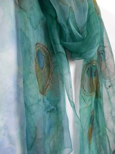Hand painted shiffon shawl with peacock feathers by ditav on Etsy, $44.00