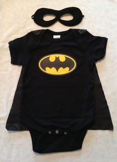 Batman Superhero Baby Outfit with Detachable Satin Cape and Reversible Mask, Super Hero Apparel or Costume