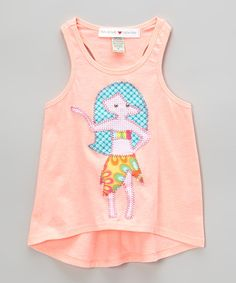 Take a look at the mini scraps Coral Hula Girl Hi-Low Tank - Toddler & Girls on #zulily today!