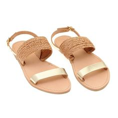 b0579ddb8d9 Straw type Leather Strap sandals-Gold Braided sandals flip flops-Bridal  sandals-Summer