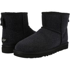 UGG Classic Mini Serein (Black) Women's Boots ($145) ❤ liked on Polyvore featuring shoes, boots, black, knee-high boots, black knee boots, short heel boots, black platform boots, ugg shoes and black low heel boots