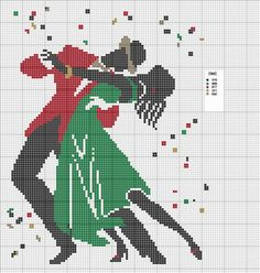 Dancing Couple Free Cross Stitch Pattern Chart