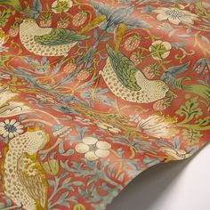 Strawberry Thief by Morris - Crimson - Wallpaper : Wallpaper Direct Morris Wallpapers, Colour Match, William Morris, Room Themes, Wall Wallpaper, True Colors, Strawberries, Icon Design, Fabric Design