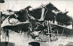 Japanese carrier Shokaku damaged after Battle of Coral Sea, Kure, Japan, between 17 May and 27 Jun 1942