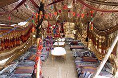 traditionally handwoven Bedouin desert tent