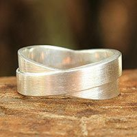 Sterling silver band ring, 'Infinite Lanna'