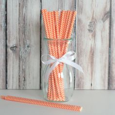Chevron Party Straws - Orange from The TomKat Studio Shop www.shoptomkat.com