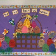 easter egg bulletin board bulletin board ideas for daycare easter crafts Easter Bulletin Boards, Preschool Bulletin Boards, Birthday Bulletin, Bullentin Boards, Preschool Classroom, Classroom Ideas, Daycare Crafts, Crafts For Kids, Daycare Ideas