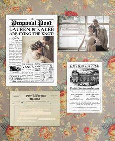 Vintage Country Newspaper Wedding Invitation Suite by MintandMerlotPaperCo Wedding Newspaper, Vintage Newspaper, Vintage Wedding Invitations, Wedding Invitation Wording, Event Invitations, Invitation Cards, Wedding Events, Our Wedding, Wedding Ideas