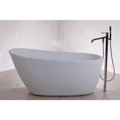 Front Drain Non Whirlpool Flatbottom Freestanding Bathtub in WhiteOve Decors   Penelope Freestanding Bathtub   PENELOPE   Home Depot  . Free Standing Tub Canada. Home Design Ideas