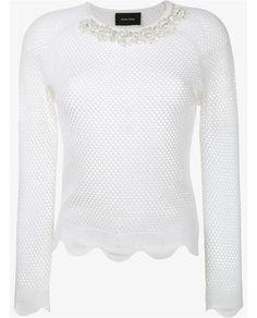 SIMONE ROCHA Long Sleeved Top with Crystal Embellished Neck
