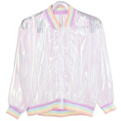 Harajuku Swag Pastel Clear Bomber Jacket for Womens ($20) ❤ liked on Polyvore featuring outerwear, jackets, pastel bomber jacket, blouson jacket, flight jacket, pastel jacket and bomber style jacket