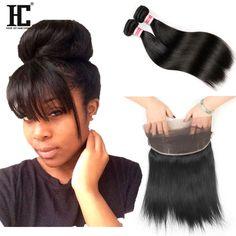 Brazilian Virgin Hair Straight 360 Full Lace Frontal 22x4x2 with Hair Bundles HC #HCHair #StraightBundle