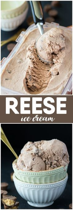 REESE Ice Cream - Creamy, smooth and packed full of yummy REESE flavour that we all know and love. Ice Cream Desserts, Frozen Desserts, Ice Cream Recipes, Frozen Treats, Easy Desserts, Delicious Desserts, Dessert Recipes, Healthy Desserts, Homemade Desserts