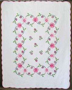 c1930-50s A beautiful quilt made from a pattern that was available thru needlework magazines.